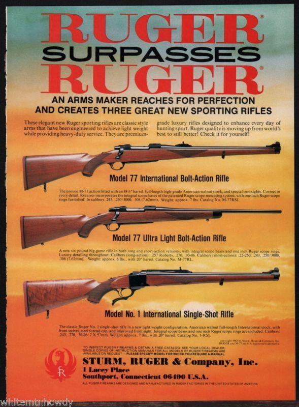 1983 RUGER Model 77 International & Ultra-Light Bolt Action