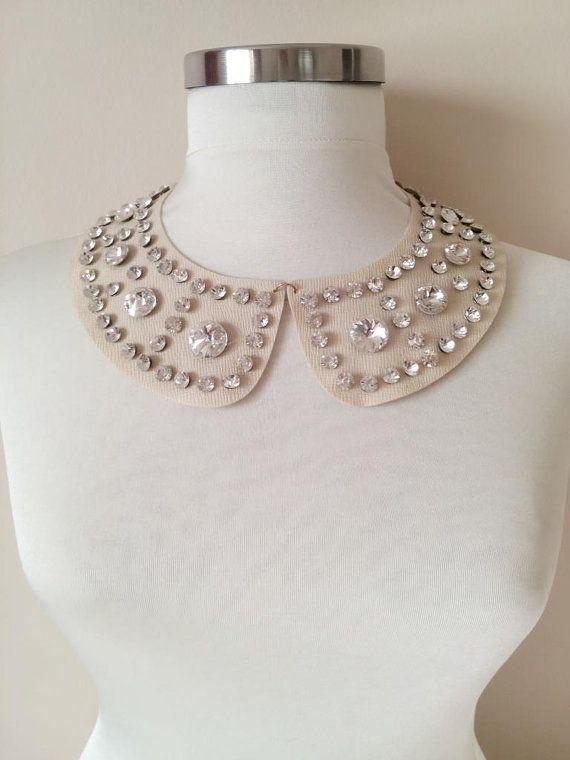 simil piel desmontable cuello peter pan collar perlas boda regalo de Navidad para su nr de crema marfil. 47