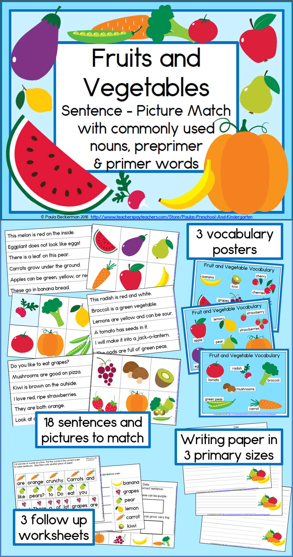 Deliciously Fun Fruits And Vegetables Sentence Picture Match Is A Complete And Easy To P Fruits And Vegetables Kindergarten Reading Activities Reading Centers [ 1824 x 960 Pixel ]