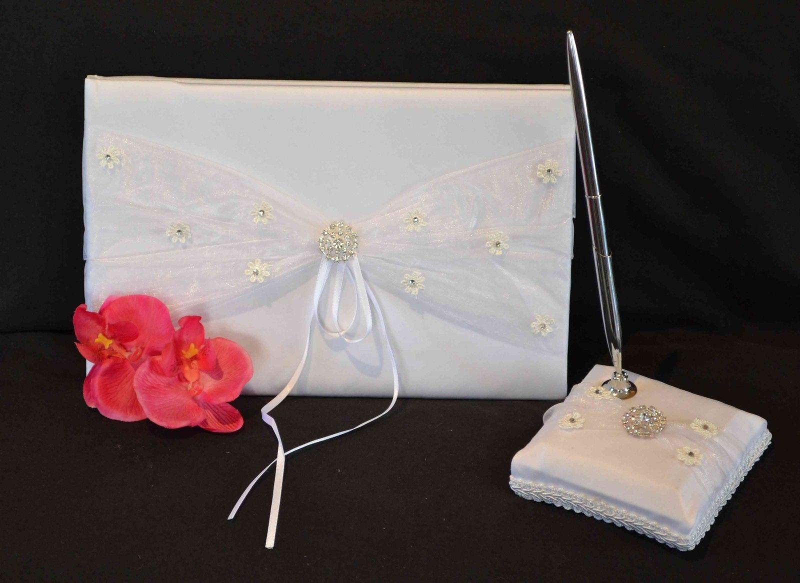 Diamante & Lace Flowers Guest Book & Pen   Wedding Guest Books ...