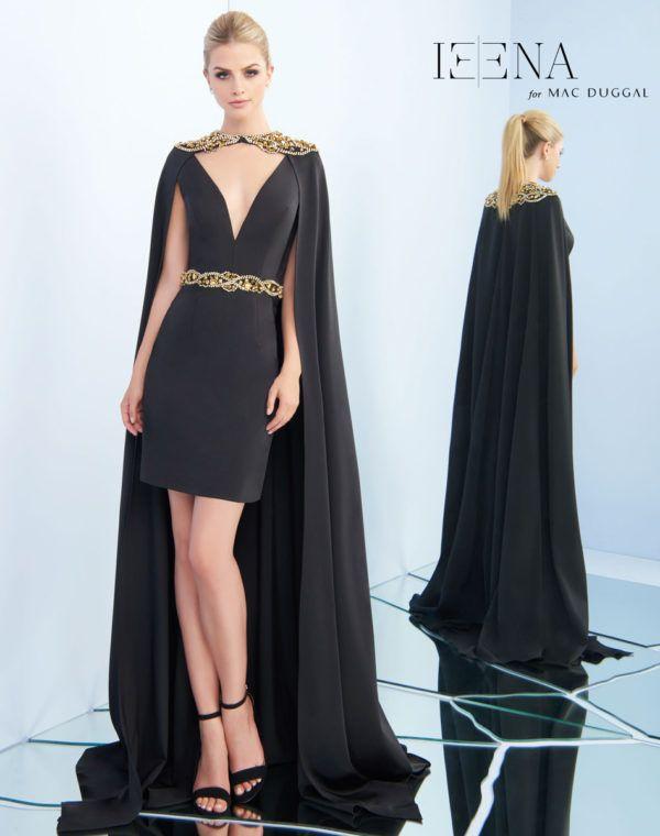 Mac Duggal Leena Black Short Dress with Gold Detailing and Dramatic ...