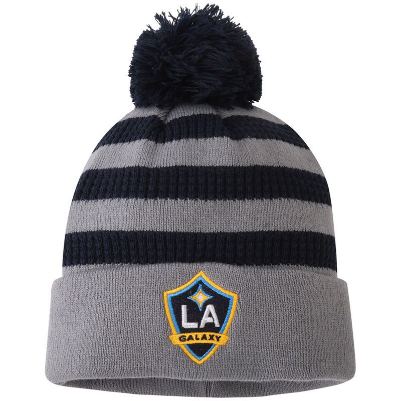 8b8a2666 LA Galaxy adidas Youth Authentic Cuffed Knit Hat With Pom – Gray ...