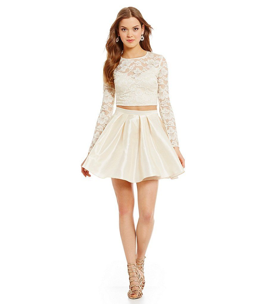B. Darlin Long Sleeve Lace Top Two-Piece Dress | Hoco | Pinterest ...