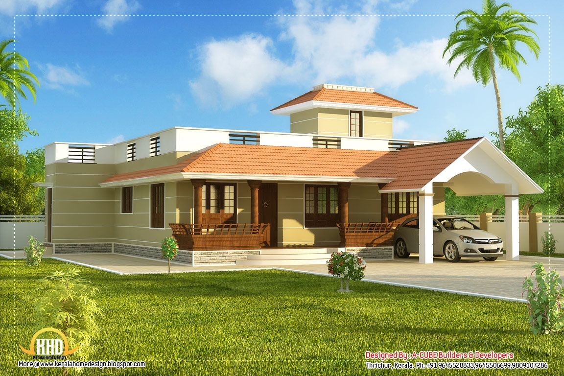 Designs of single story homes single story kerala model for Indian house portico models