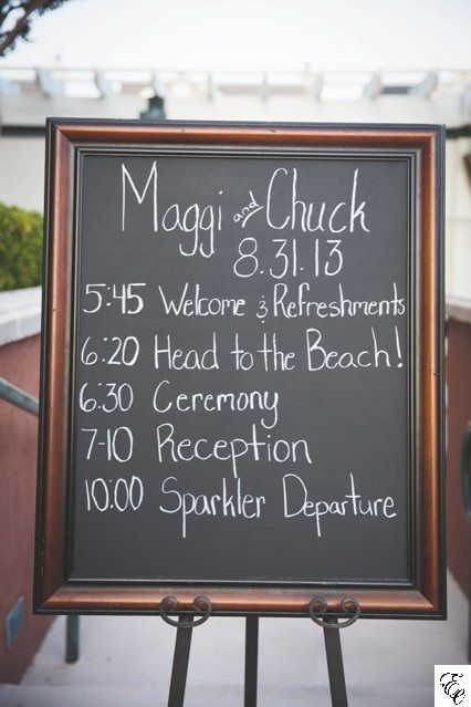 Chalkboard Timeline of the Evening | Designed by Engaging Events