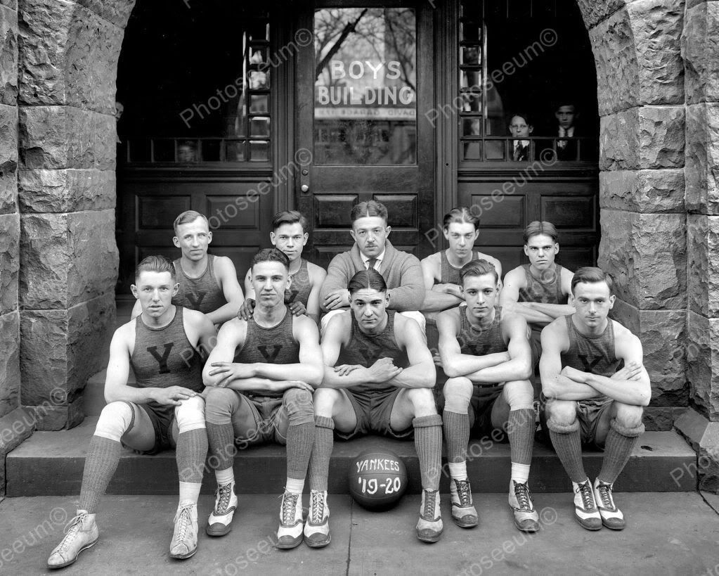 washington dc ymca yankee basketball team 1920 vintage 8x10 reprint of old photo. Black Bedroom Furniture Sets. Home Design Ideas