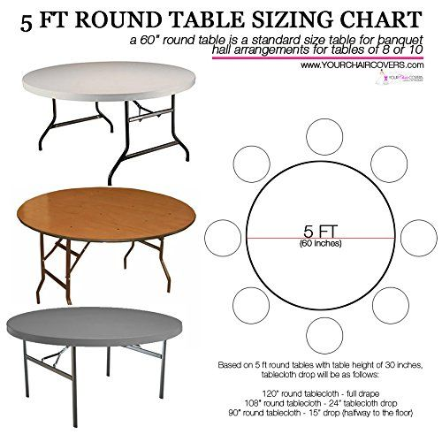 How To Buy Tablecloths For 5 Ft Round Tables Use This Tablecloth Sizing Guide A Quick And Easy Printable Table Table Cloth Table Linens 120 Round Tablecloth