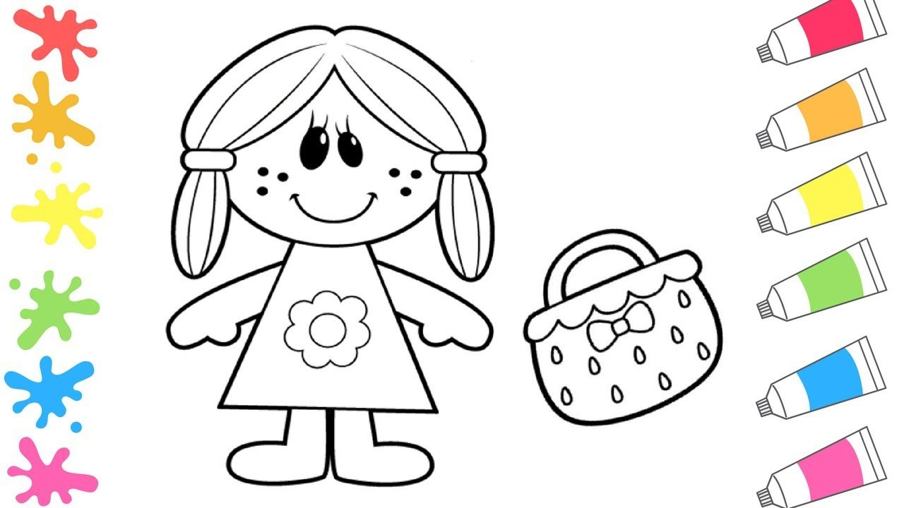 how to draw cute doll coloring page for girls kids drawing for