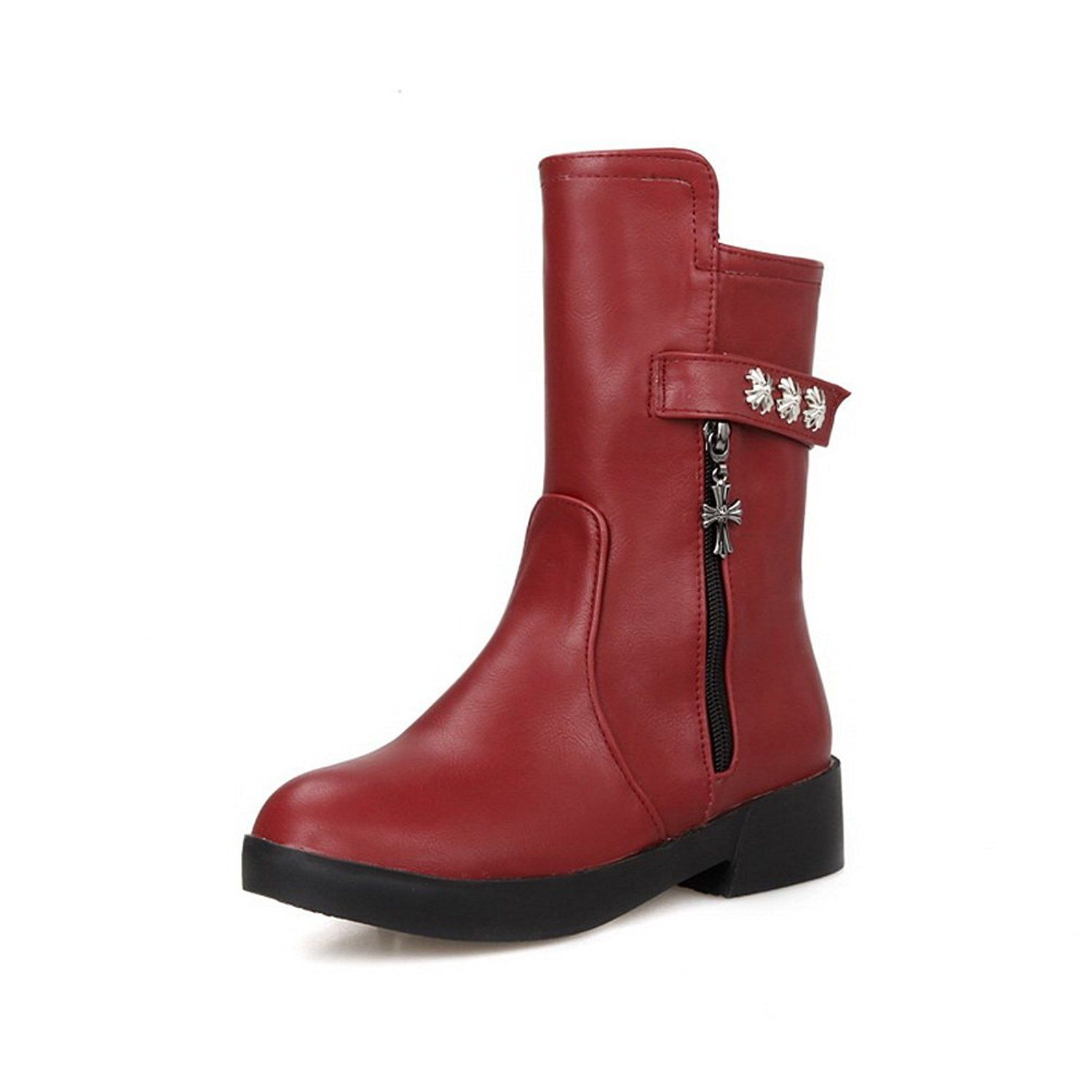 BalaMasa Ladies Zipper Square Heels Studded Rivet Imitated Leather Boots * See this great product.