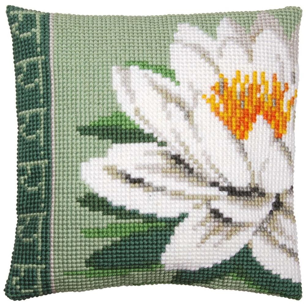 Vervaco® White Lotus Flower Pillow Cover Needlepoint Kit | Cross ...