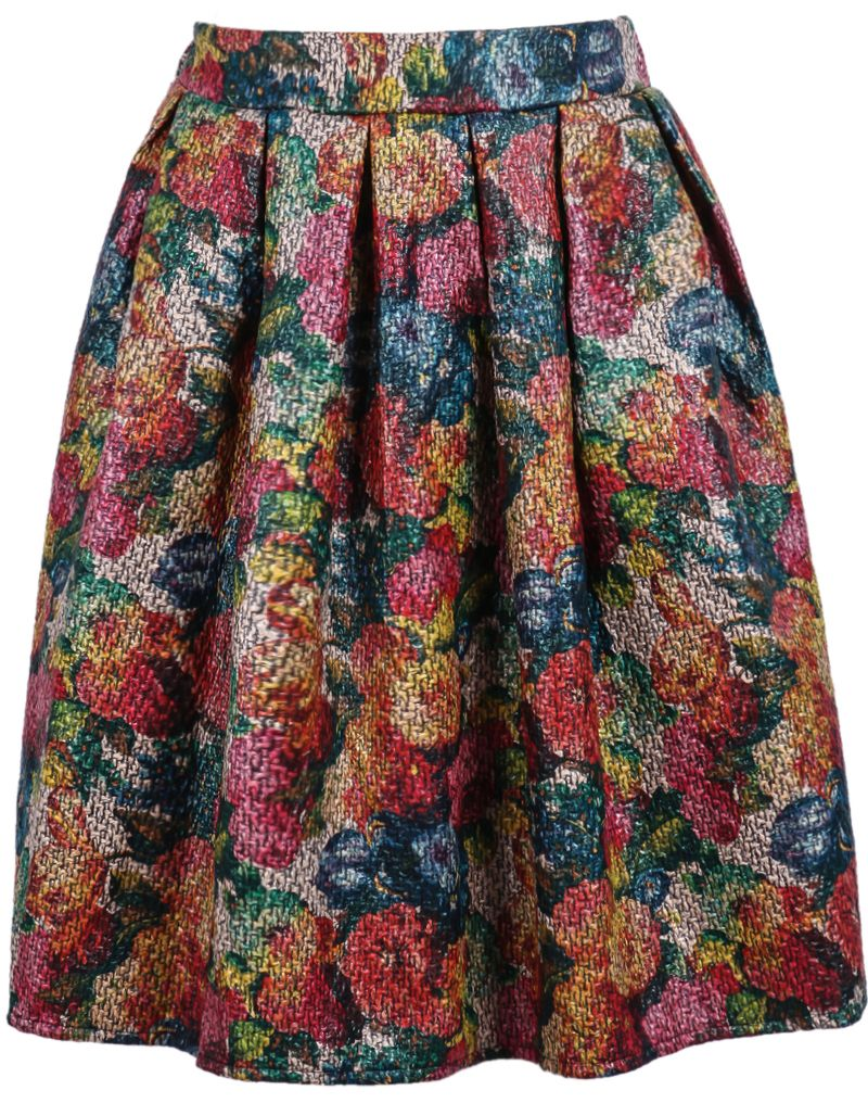 Multicolor High Waist Floral Pleated Skirt 19.17 | Перший ...