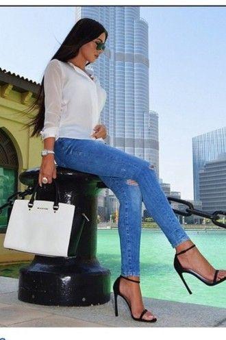 bag blouse sunglasses high heels blue jeans denim watch jewels black hair fashion
