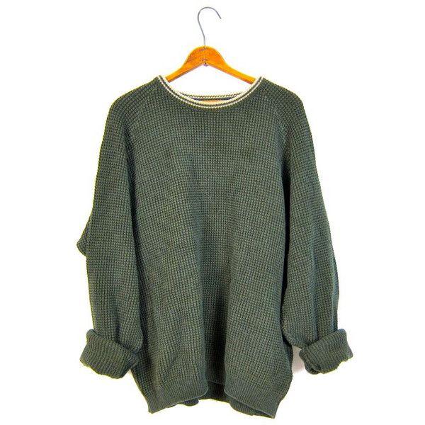 bfa04bb3f8dea Oversized Army Green Sweater Thermal Boyfriend Cotton 90s Plain ...