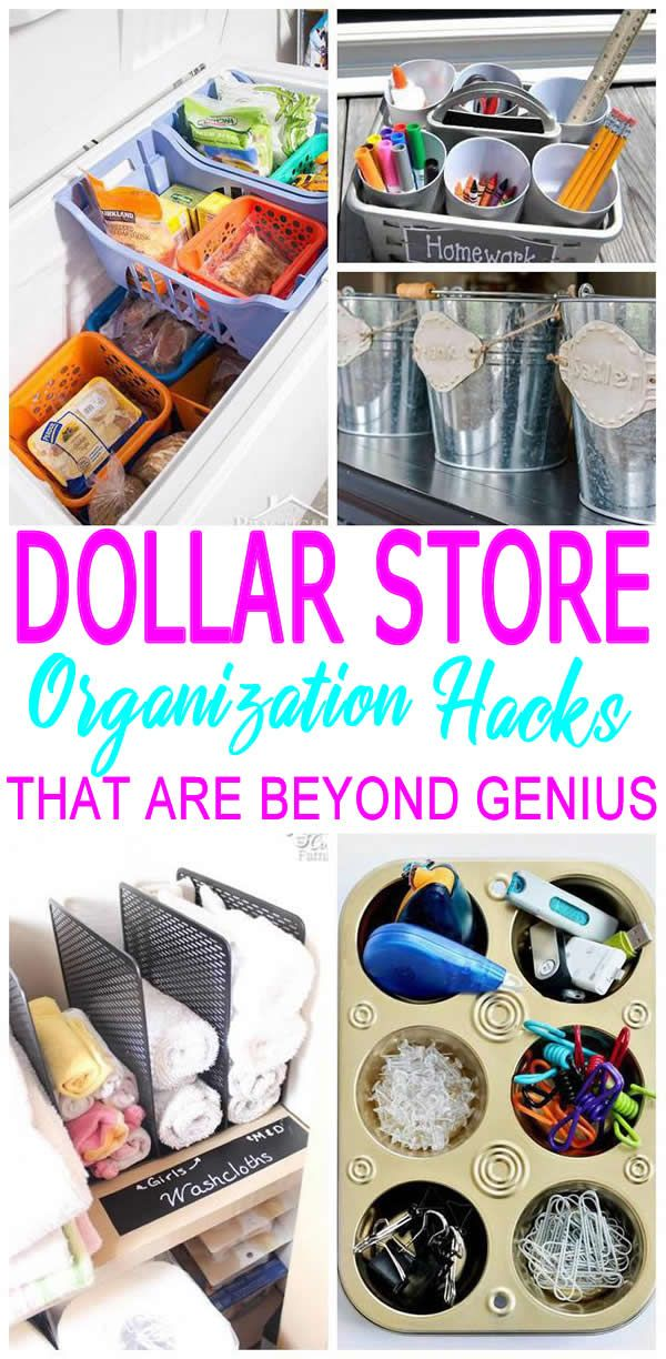 DIY Dollar Store Hacks Dollar stores, Diy storage for