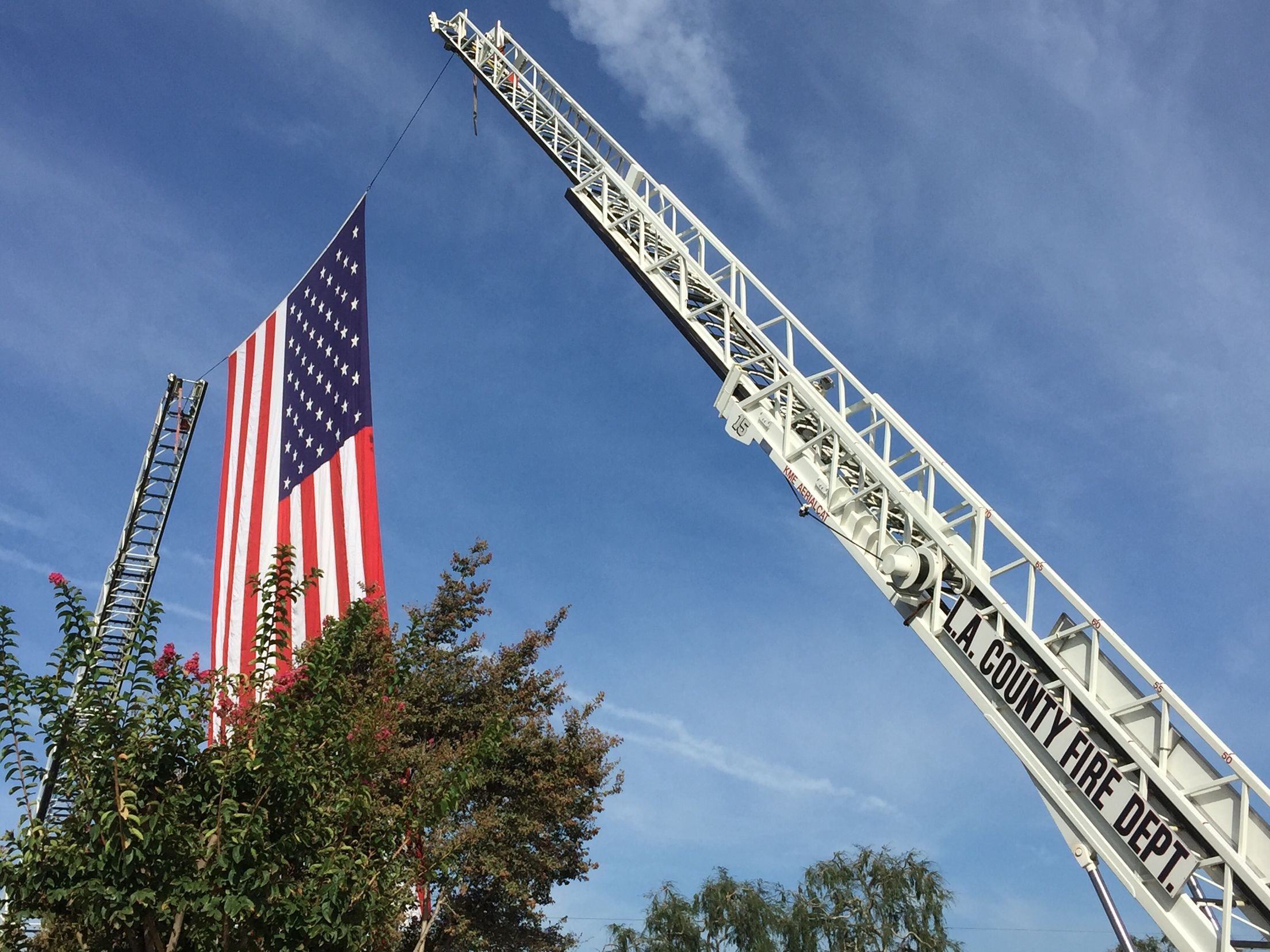Lacofd Garrison Flag Displayed By Q20 And Q15 At Ffs Magallanes Funeral 9 28 15 Flag Display American Flag Golden Gate