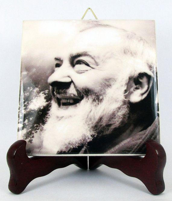 Padre Pio of Pietrelcina - St Pio - catholic gifts - handmade ceramic tile - religious art - perfect for prayer room - saint Pio