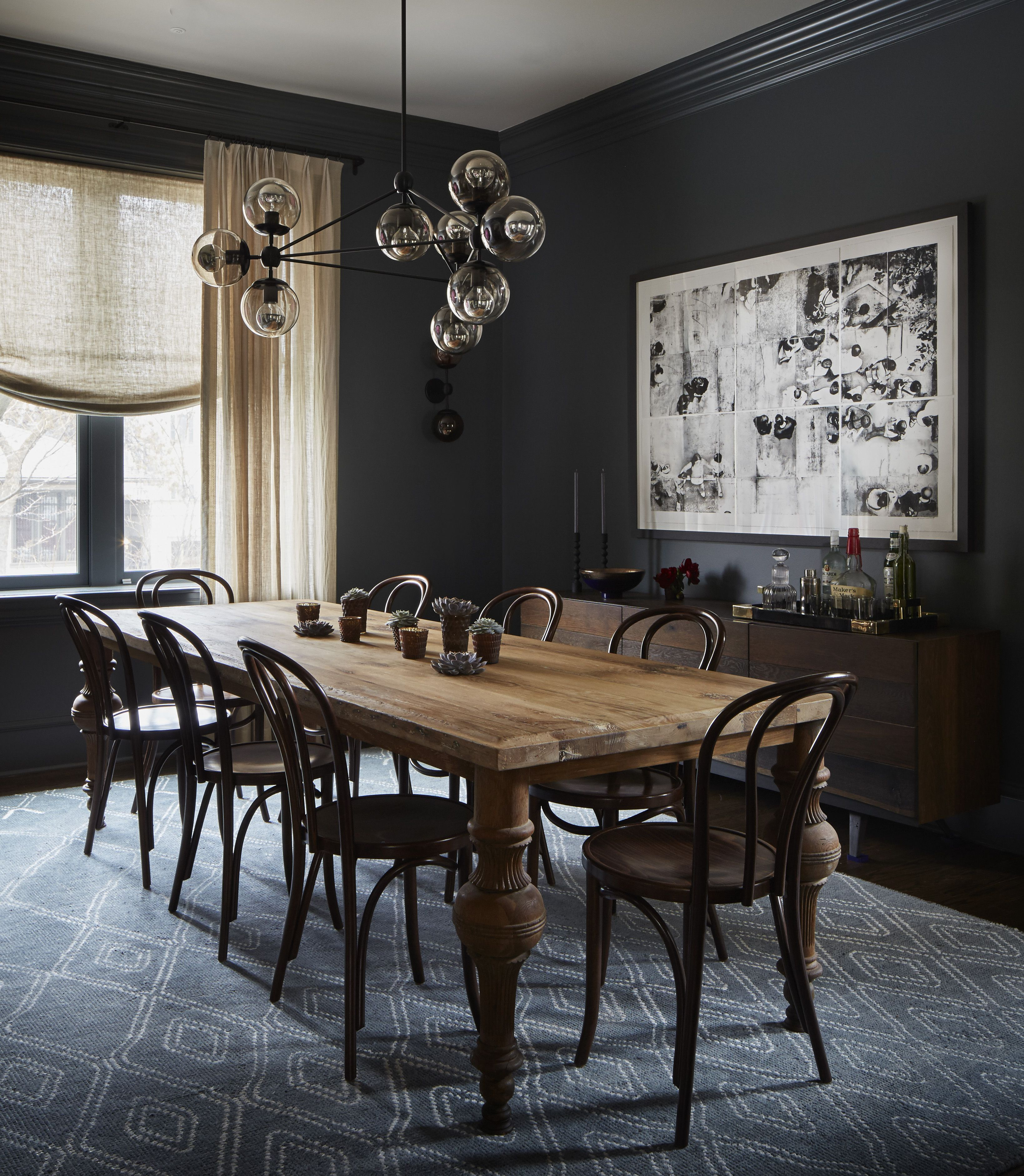 Greenview Ave 2to5design Dark Dining Room Farmhouse Dining Room Dining Room Inspiration