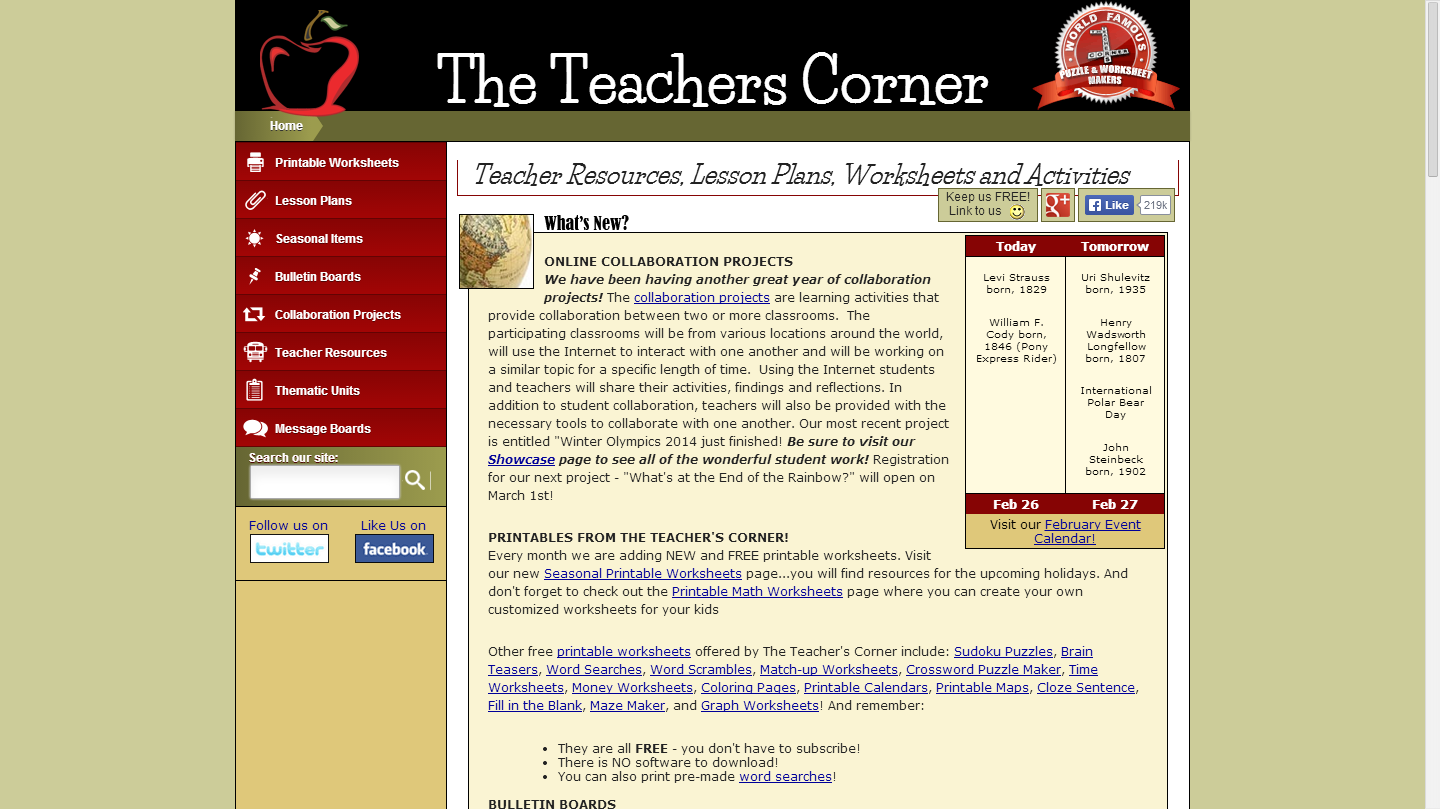 The Teacher's Corner - Lesson Plans, Worksheets and Activities ...