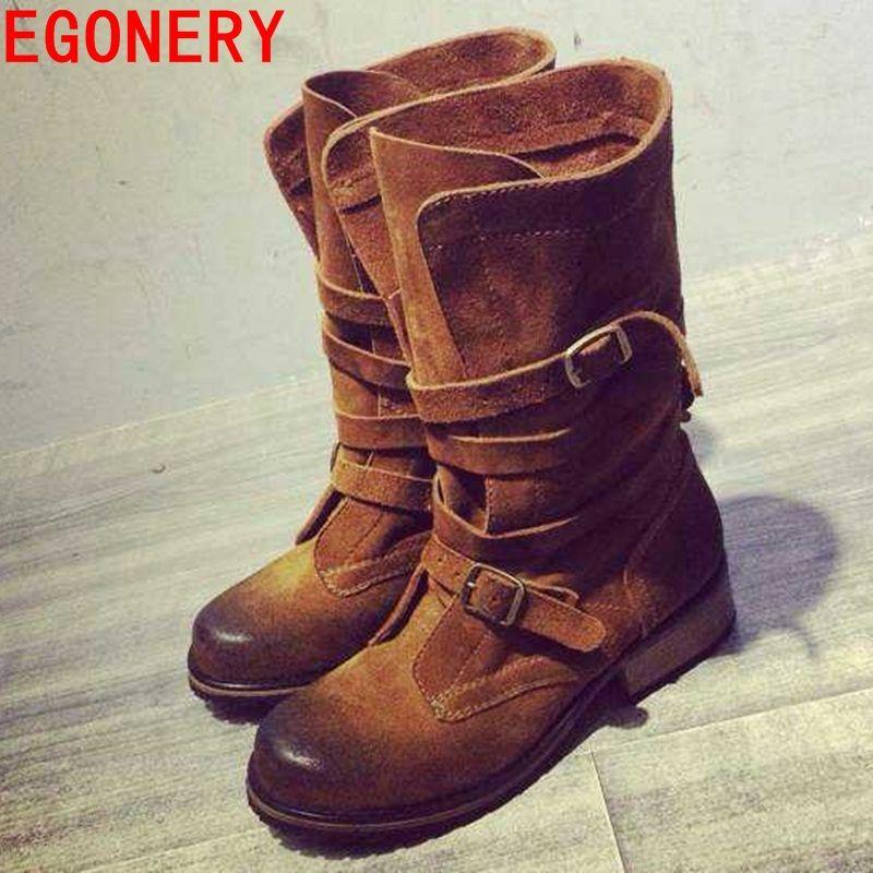 Pas cher Véritable cuir plat bottes courtes boucle mi mollet femmes bottes  automne hiver bottes chaussures