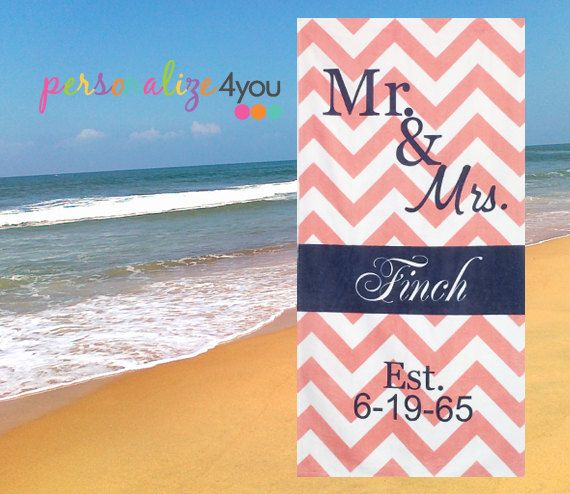 Mr And Mrs His Her Beach Towel Personalized With A Monogram Wedding Date Honeymoon Gift