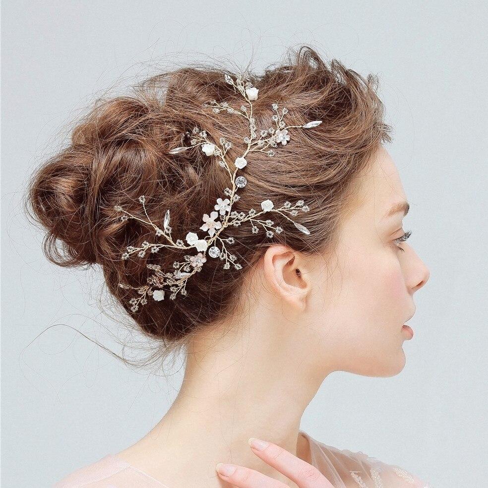 Fashion Hair Styling Bridal Headpiece Handmade Flower Wedding Hair Accessories Party Prom Crystal Hair Vine Flower Hair Accessories Wedding Bridal Hair Jewelry