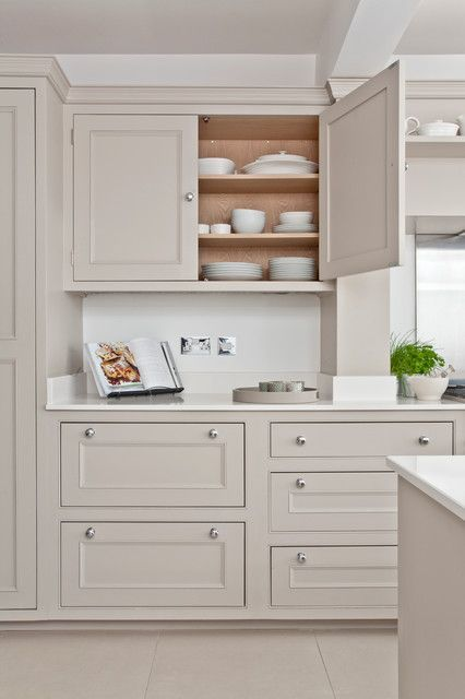Light taupe-gray cabinets in 2019 | Cream kitchen cabinets ...