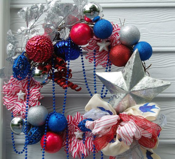 4th of July Red White and Blue Wreath by cindyspangler on Etsy, $100.00