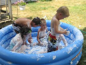 Milk Allergy Mom Grahams 5th Birthday A Backyard Water Party SHAVING CREAM POOL