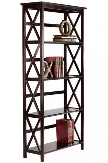 Potential bookcase -- I love the drama of the crossed wood, and also how open it all feels!