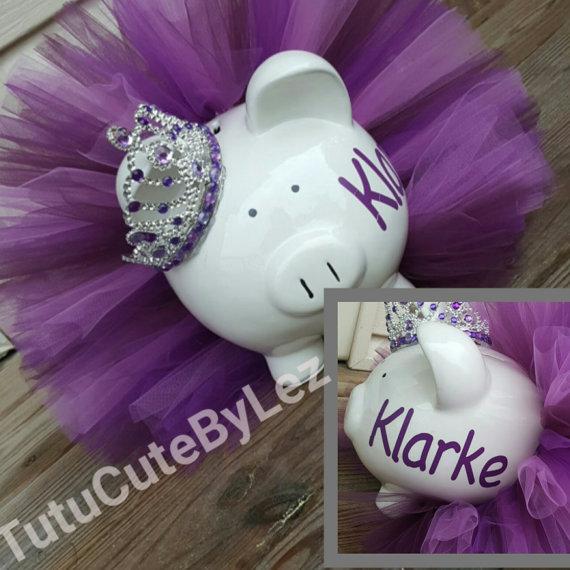 Grande personalizado púrpura hucha de Tutu por TuTuCutee en Etsy