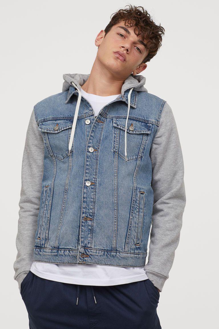Hooded Denim Jacket Denim Blue Gray Men H M Us Hooded Denim Jacket Jean Jacket Outfits Men Jean Jacket Hoodie [ 1152 x 768 Pixel ]