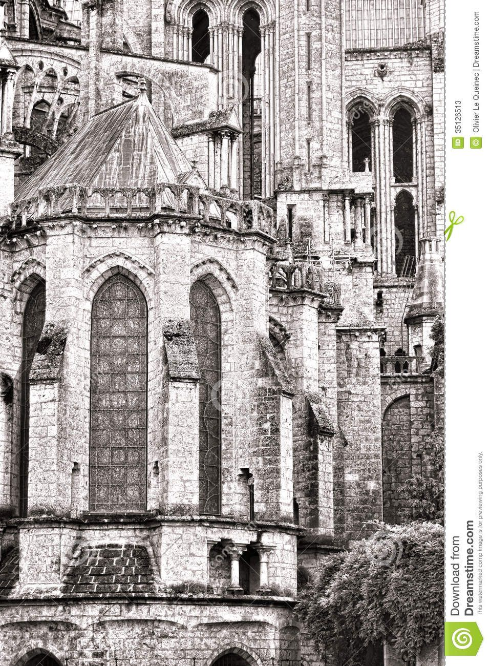 Old Gothic Cathedral Medieval Architecture Detail Church Construction Outside East End Our Lady Chartres 35126513 957x1300