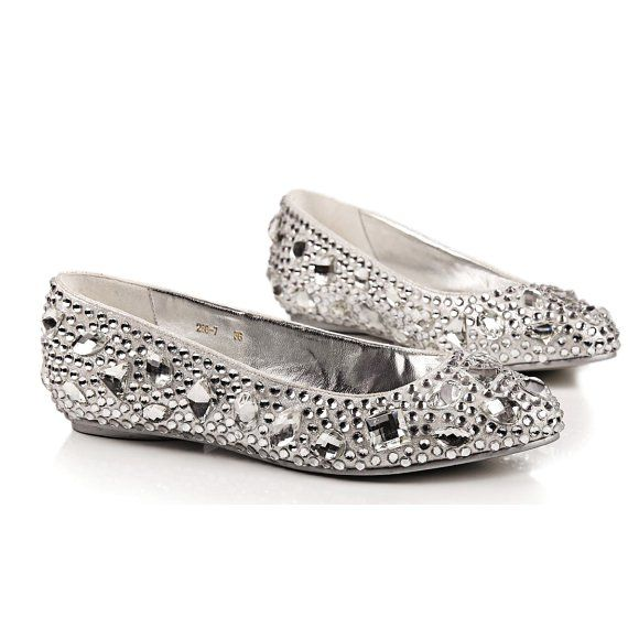 Attrayant Comfortable Flats Silver Crystal Wedding Shoes