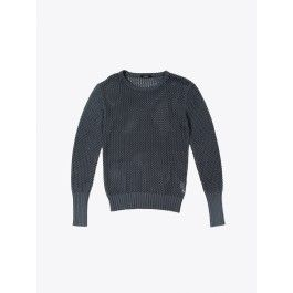 crew neck mesh jumper dark grey