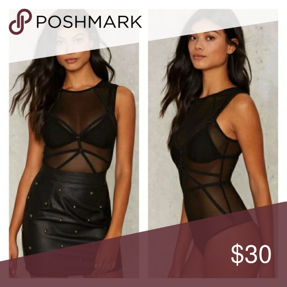 Mesh bodysuit Sheer bodysuit with straps. Black bralette not included. Completely sheer and stretchy. Nasty Gal Other