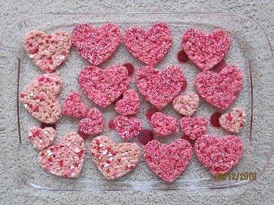 Pink Heart Shaped Rice Krispy Treats. | Valentines food ...