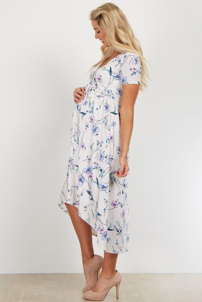 a6734058e9810 Ivory Floral Hi-Low Wrap Dress