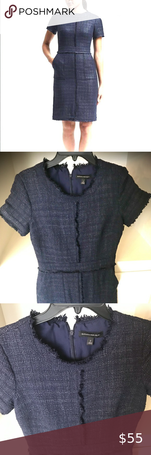 Photo of Banana Republic Navy Tweed Dress EUC I absolutely love this dress and wouldn't…