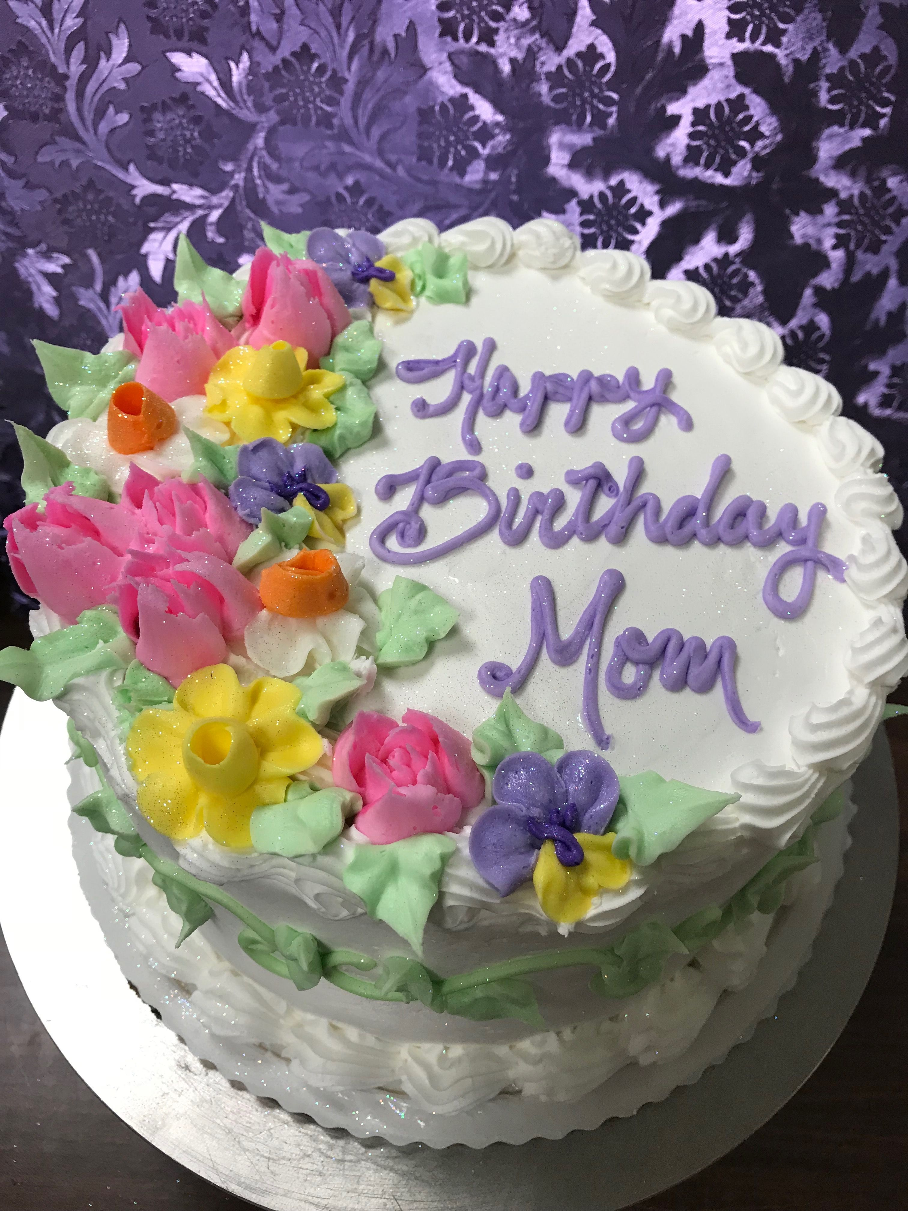 Lovely Spring Birthday Cake With Russian Tip Tulips Karens Cakes
