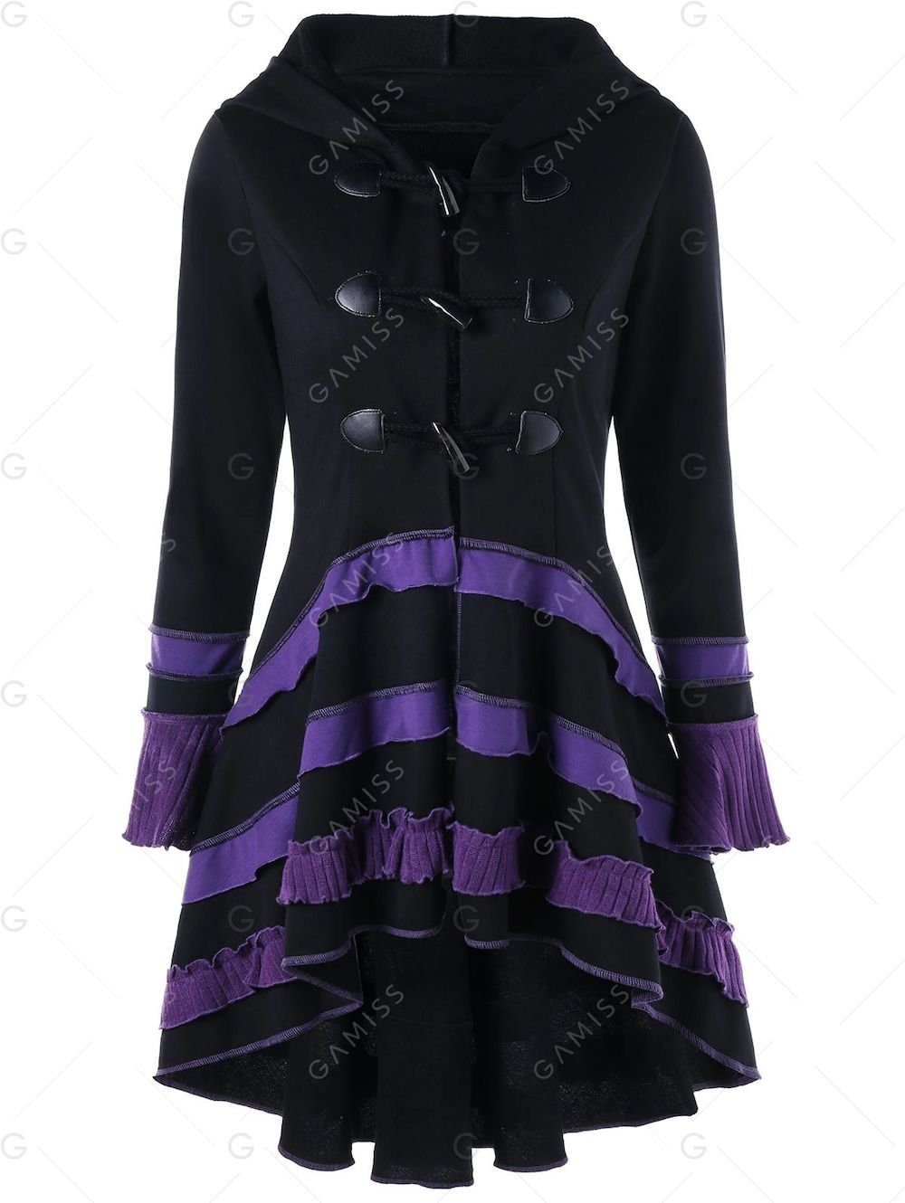 Coat High High Lace up and low Duffle Buckle Black Low Clothes Pyq1cWTnFZ
