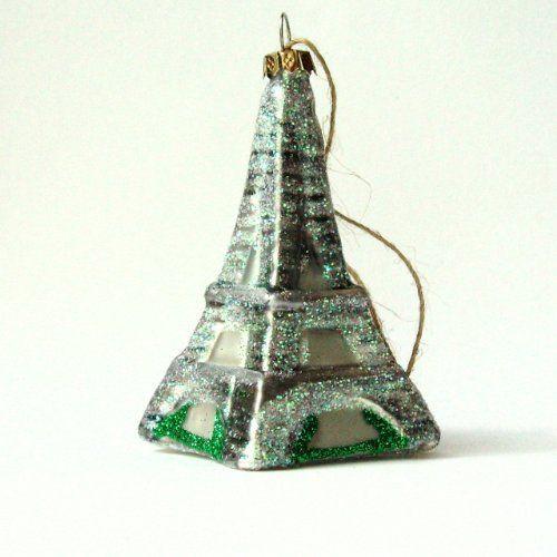 Ornament -3\u2033 Eiffel Tower \u2013 Blown Glass w/Glitter \u2013 3\u2033 H x 15\u2033 Sq