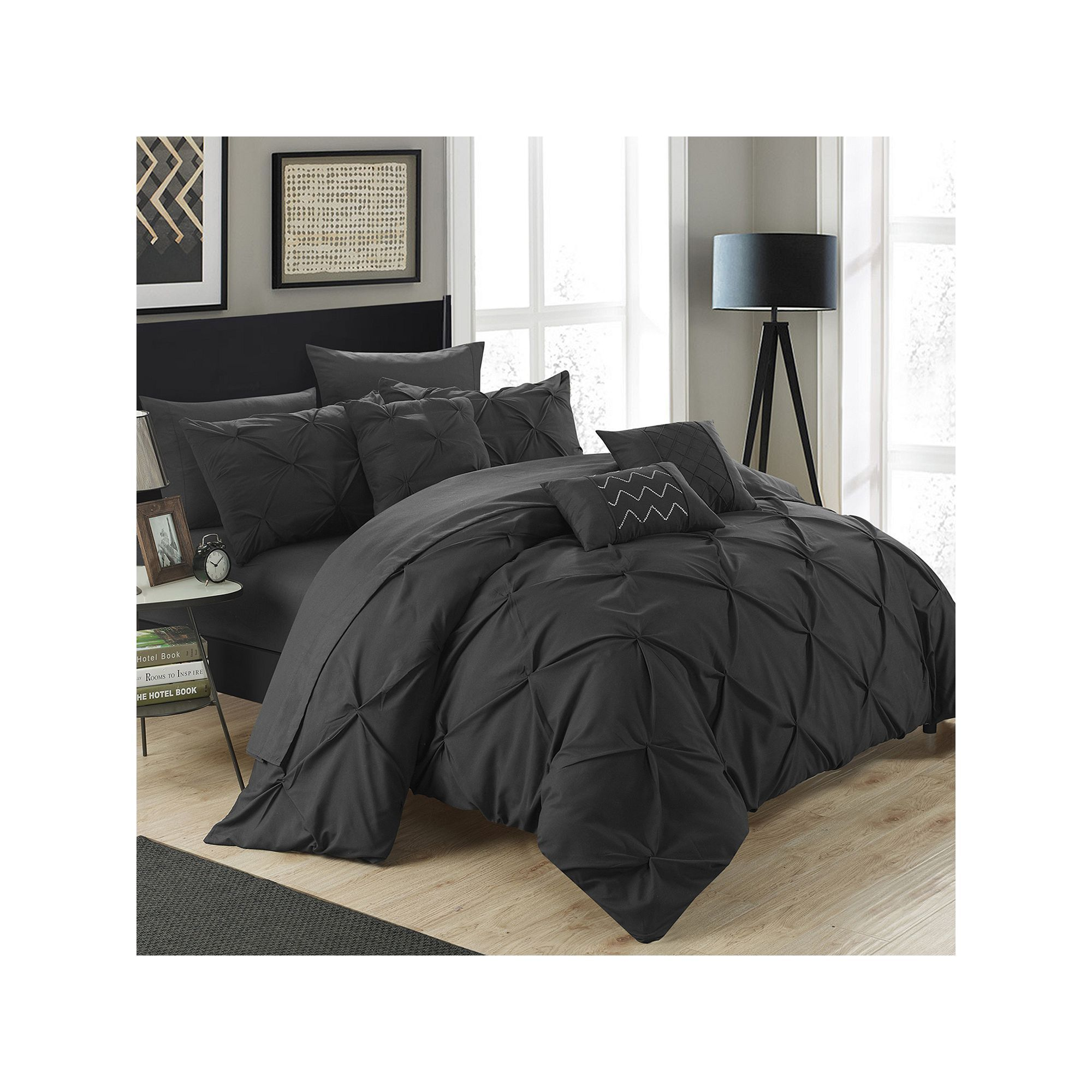 chic home hannah 10piece bed in a bag set black