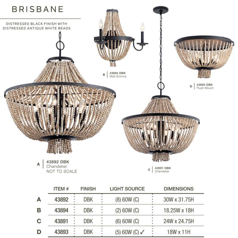 Kichler 43892dbk Distressed Black Brisbane 8 Light 30 Wide 1 Tier