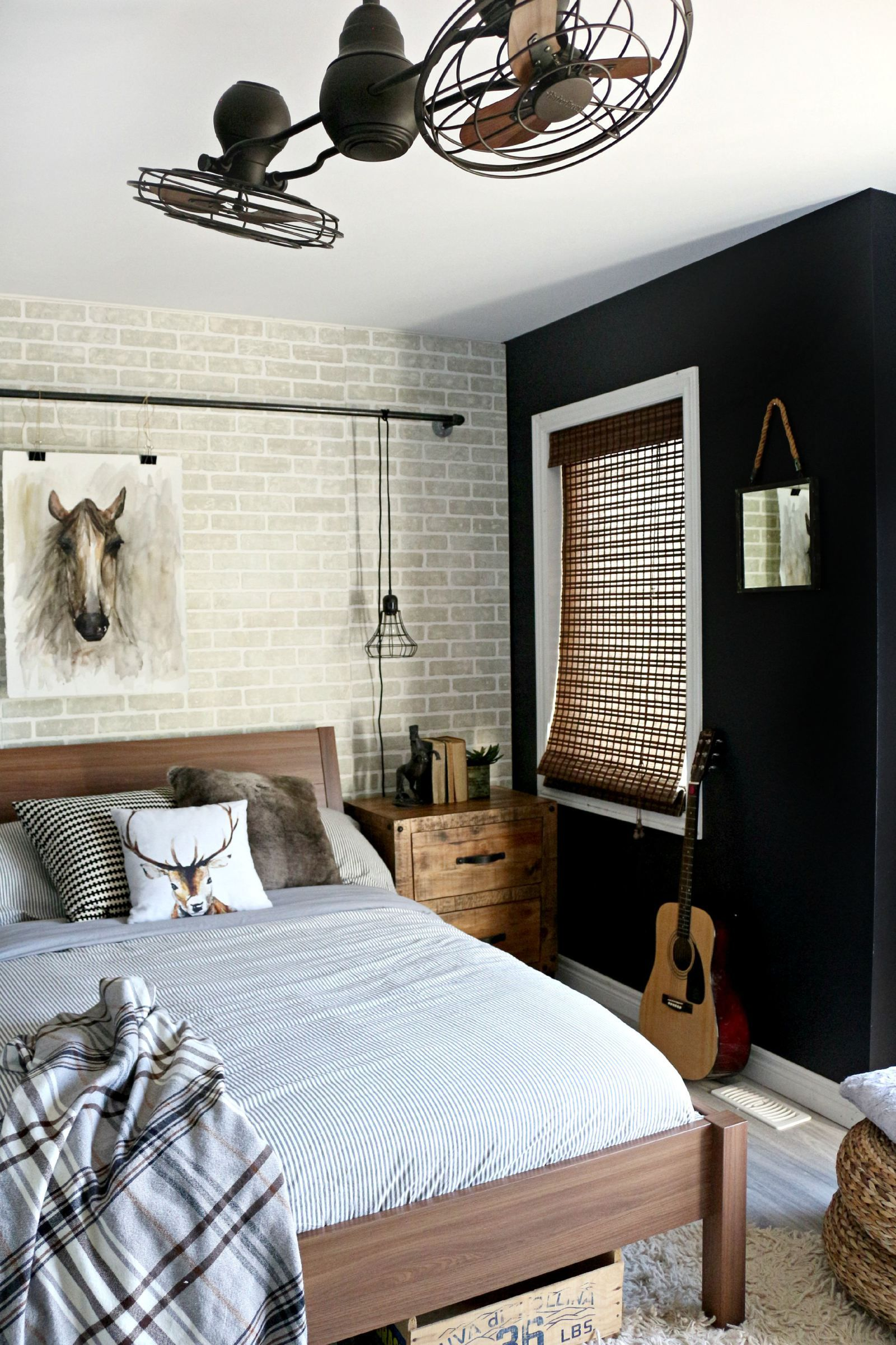 top panels pipe pin focal boys faux s a room across we the brick makeover leon furniture added bedroom and boy teen opted panel an to industrial reveal wall line with