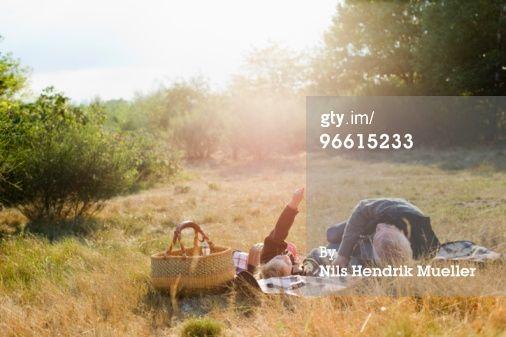 Royalty-free Image: grandfather and granddaughter at picnic