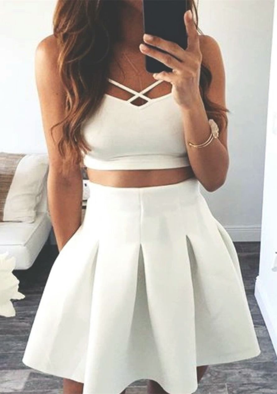 Two piece spaghetti straps sleeveless short ivoru satin homecoming