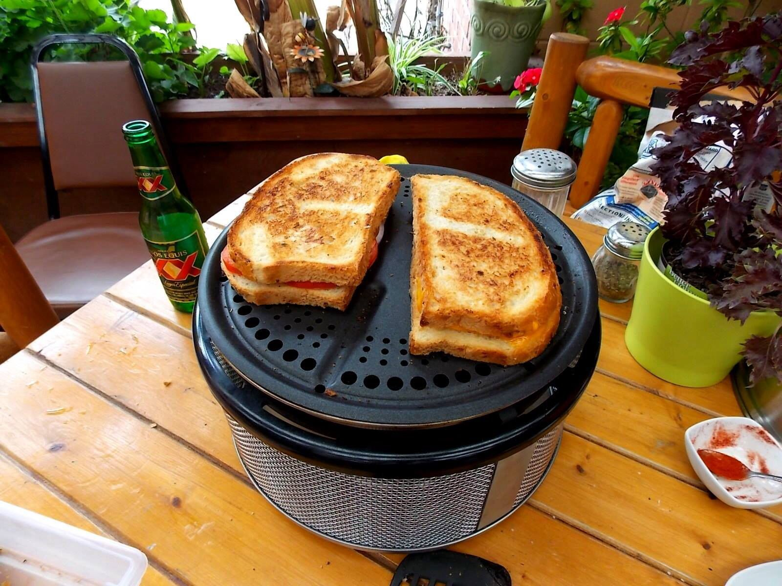 grilled sandwich directly on the cobb grill grid quick and easy let the children help learn. Black Bedroom Furniture Sets. Home Design Ideas