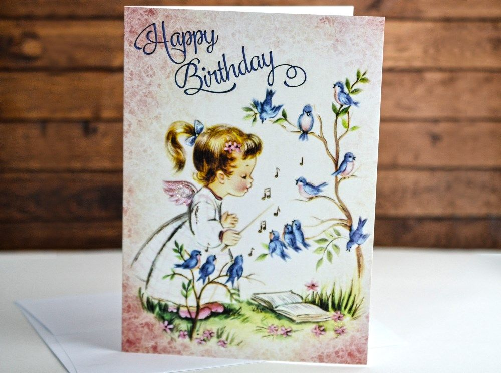A Little Angel With Her Birds Birthday Card Made In The Usa Using Eco Friendly Materials Yesterd Birthday Greeting Cards Card Making Birthday Birthday Cards