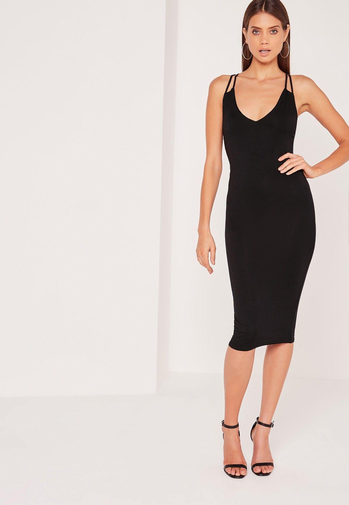 Missguided - Double Strap Cross Back Plunge Midi Dress Black ...