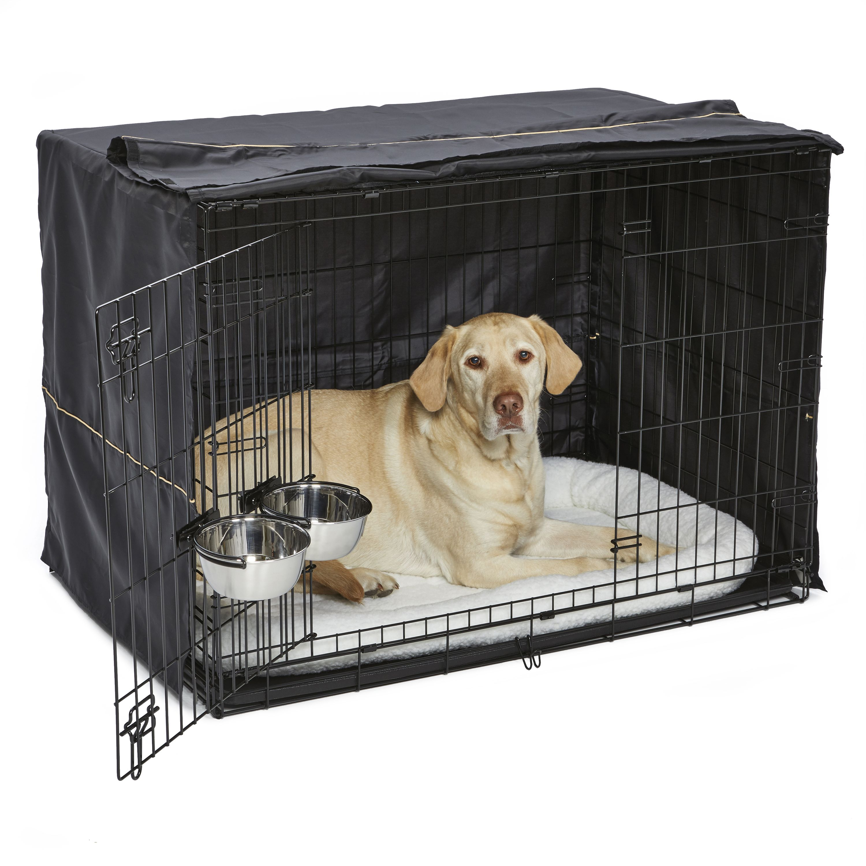Midwest Dog Crate Starter Kit 42 2 Door Icrate Pet Bed Crate Cover 2 Pet Bowls Ideal For Large Dog Breeds Walmart Com Dog Crate Cover Large Dog Crate Large Dog Breeds